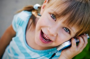 young child on cell phone
