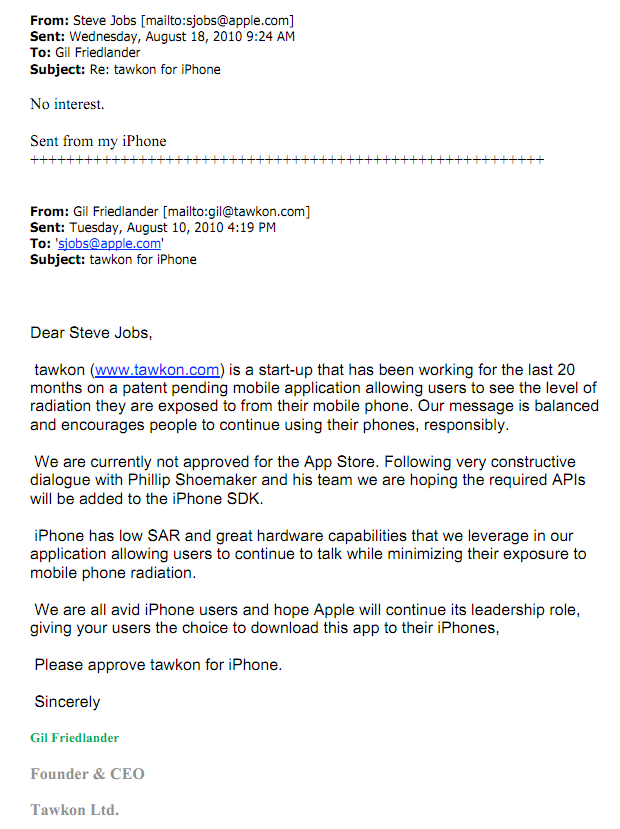 Steve Jobs No To Cell Phone Radiation Safety App