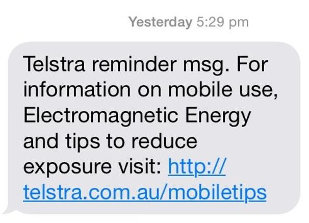 Telstra reminder msg text mobile phone radiation safety tips