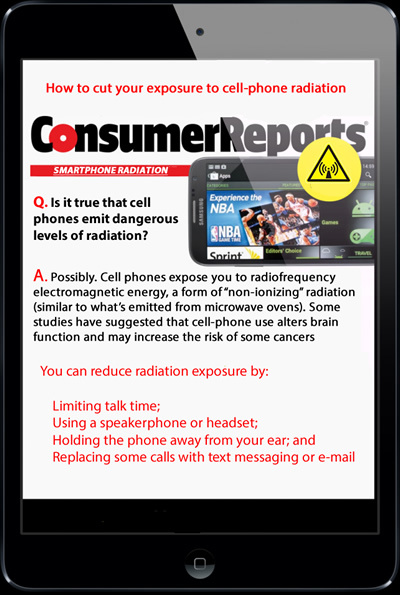 consumer reports cellphone radiation