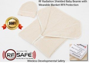 RF Safe baby Beanie with Wearable Blanket RFR Protection Wireless Developmental Safey