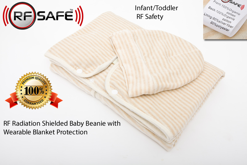 RFSafety-Infant-Toddler-RF Radiation Shielded Baby Beanie with Wearable Blanket Protection
