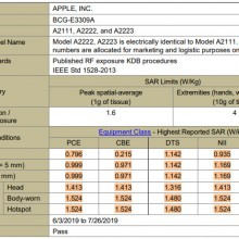 iphone-11-sar-levels-fcc-report-apple-model-a2111-a2222-a2223-fccid-bcg-e3309a