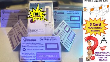 five-pcs-installer-package-5-quantadose-uvgi-test-cards-free-uvc-uv sterilizer-wand-free3w-uvc-calibration-light