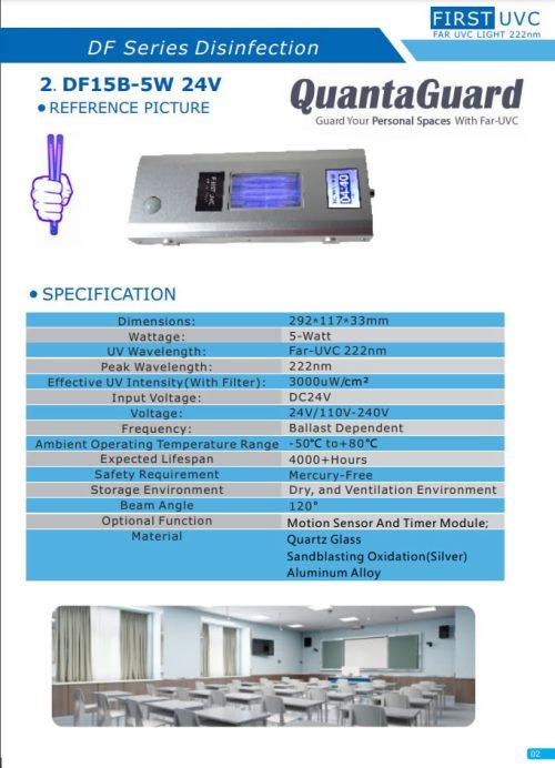 Far UVC Light 5W 222nm FAR UV Lighting With Band Pass Filtered 222 nm Excimer Lamp 24V DC