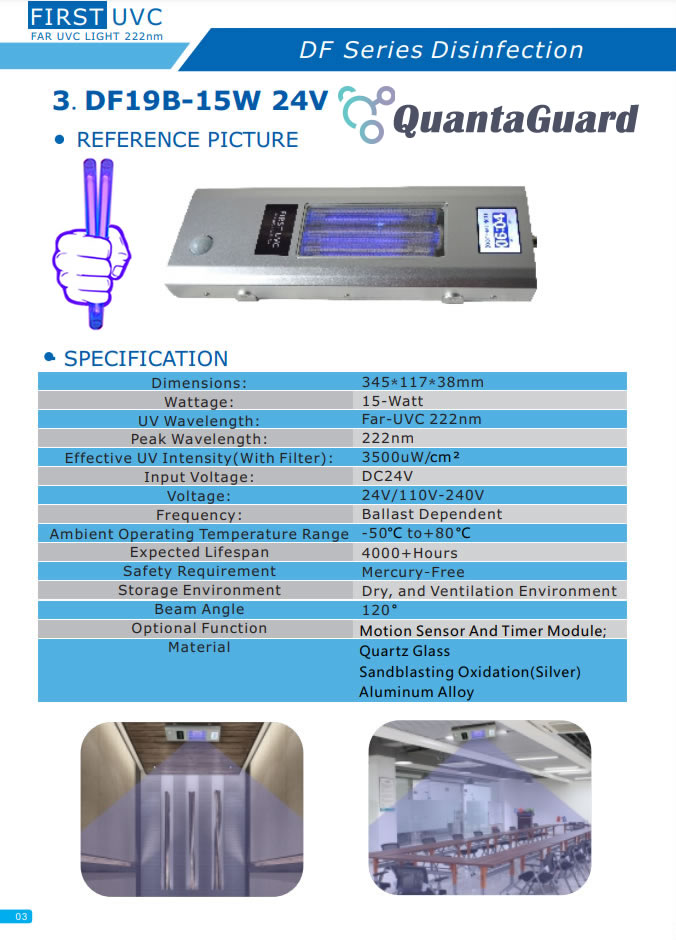 QuantaGuard 15W 222nm FAR UVC Excimer Lamp 24V DC