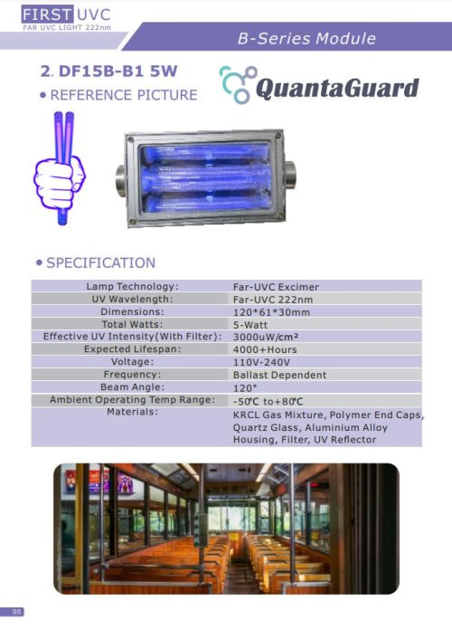 QuantaModule Open Source 5-Watt Far UV Excimer Module DC 24V Far-UVC Light Kit with 222nm Bandpass Flitter and Housing