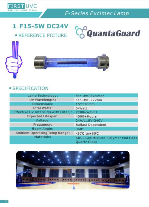 QuantaLamp Excimer 5-Watt 222nm Far UVC Light Bulbs First-UVC FUV-Series 5w Far-UV Light 24V DC