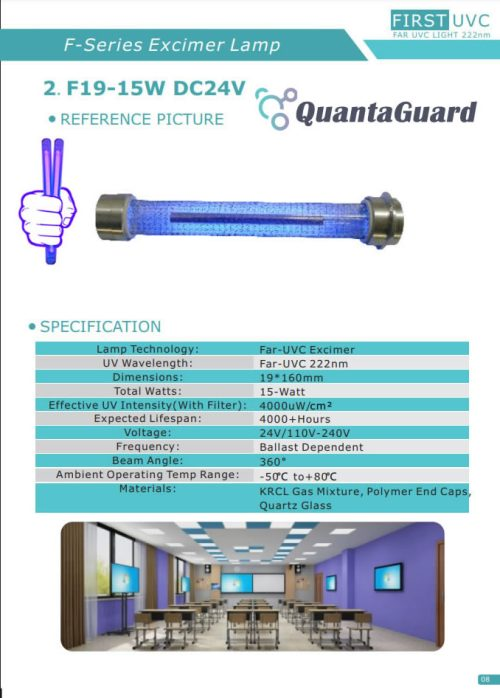 QuantaLamp Excimer 15-Watt 222nm Far-UVC Light Bulb First-UVC FUV-Series 15w Far-UV Light 24V DC