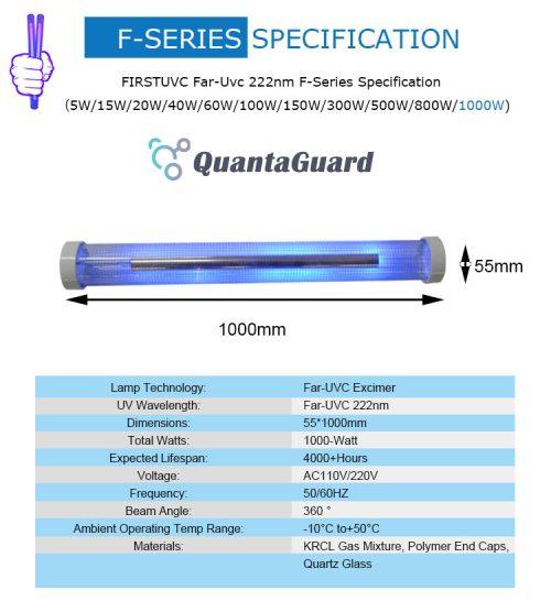 QuantaLamp 1000-Watt Far UVC Excimer Bulb 222nm First-UVC F-Series 1000w Far-UV Light AC220V