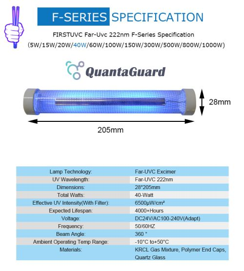 QuantaLamp 40-Watt 222nm Far UVC Light Excimer Bulb First-UVC FUV-Series 40w Far-UV Light 24V DC