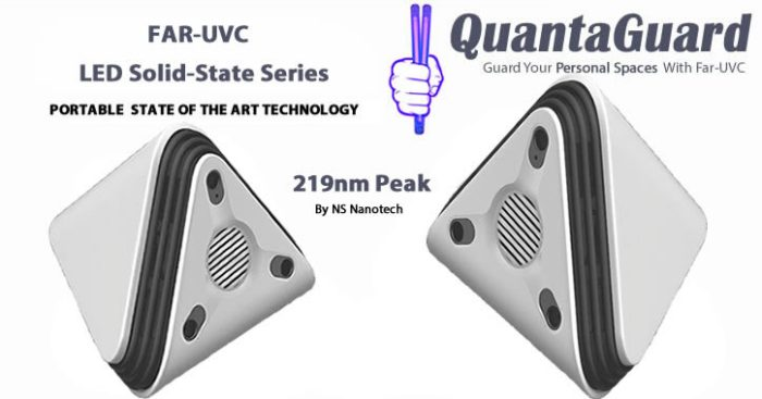 QuantaPyramid Light Solid-State Nano LED Far-UVC 219nm Peak Wavelength Portable Personal Space