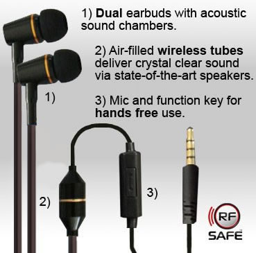 QuantaBuds™ Air Tube Headsets For Reducing Wireless EMR Exposure QuantaDefense™