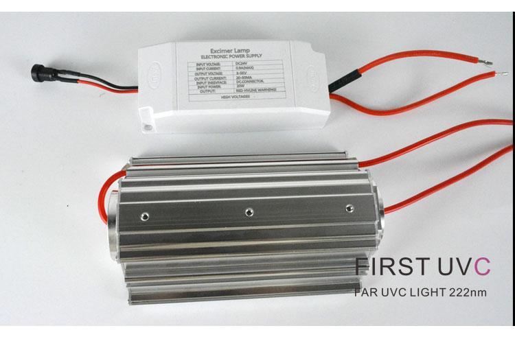 Open Source QuantaModule 20-Watt Far UVC Light Excimer Lamp Module DC 24V Far-UVC Light Kit with 222nm Bandpass Flitter and Housing